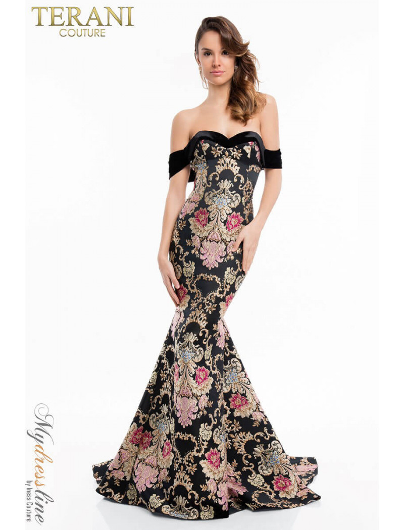 ef106436617 Glamour By Terani Couture High Neck Beaded Illusion Two Piece Dress
