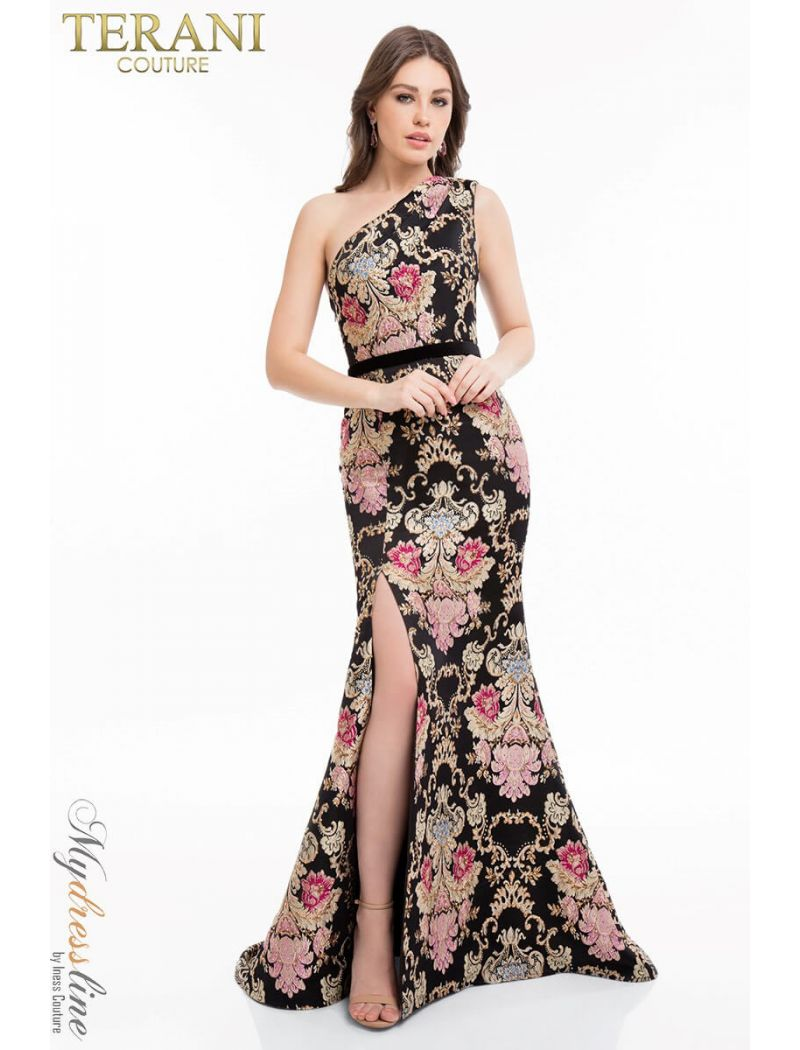 e7d17a7722f Glamour By Terani Couture High Neck Beaded Illusion Two Piece Dress ...