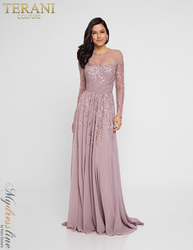 f4f57319cfb Terani Couture Long Sleeve Beaded Gown